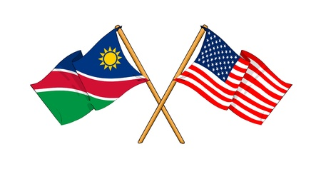 truce: cartoon-like drawings of flags showing friendship between Namibia and USA