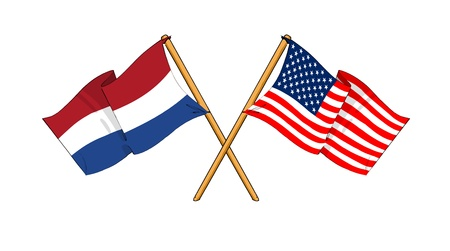 cartoon-like drawings of flags showing friendship between Kingdom of the Netherlands and USA