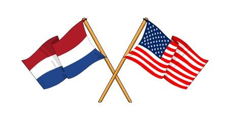 pacto: como los dibujos animados dibujos de banderas demostrar amistad entre el Reino de los Pa�ses Bajos y EE.UU. Foto de archivo