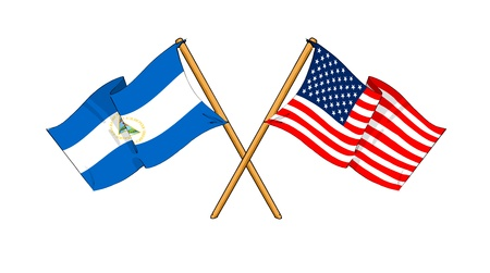 cartoon-like drawings of flags showing friendship between Nicaragua and USA Stock Photo
