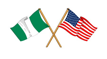 cartoon-like drawings of flags showing friendship between Nigeria and USA