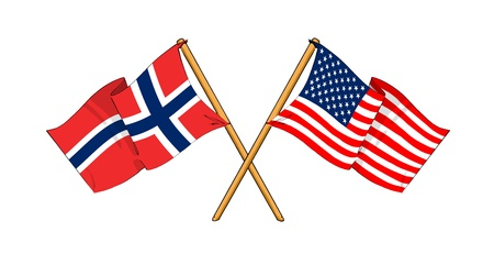 cartoon-like drawings of flags showing friendship between Norway and USA