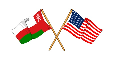 cartoon-like drawings of flags showing friendship between Oman and USA photo