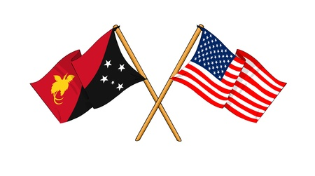 cartoon-like drawings of flags showing friendship between Papua New Guinea and USA Stock Photo - 14738197