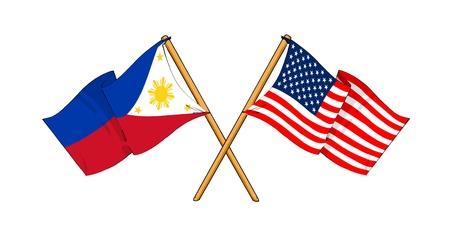 bandiera stati uniti: cartoon-like disegni di bandiere che mostrano amicizia tra Filippine e Stati Uniti d'America Archivio Fotografico