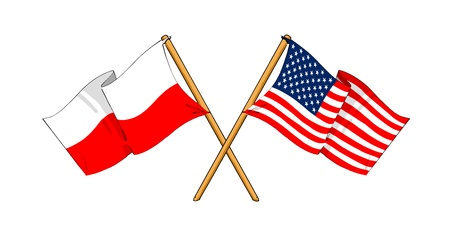 cartoon-like drawings of flags showing friendship between Poland and USA