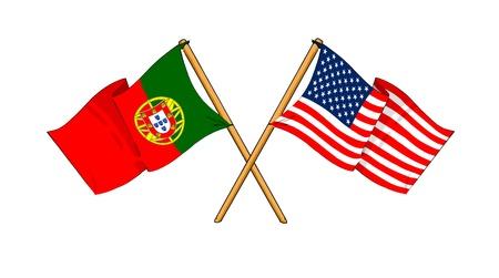 포르투갈과 미국 사이의 우정을 보여주는 플래그의 만화 같은 그림 스톡 콘텐츠