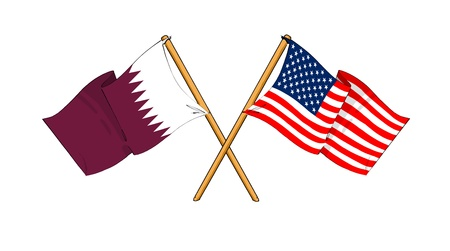 cartoon-like drawings of flags showing friendship between Qatar and USA
