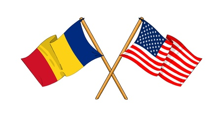 cartoon-like drawings of flags showing friendship between Romania and USA