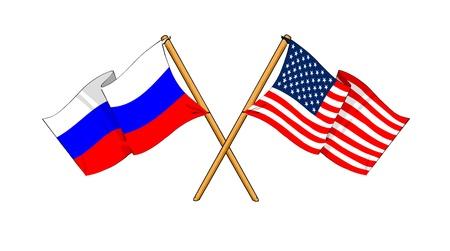 bandera rusia: como los dibujos animados dibujos de banderas que muestran la amistad entre Rusia y EE.UU. Foto de archivo