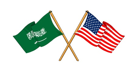 cartoon-like drawings of flags showing friendship between Saudi Arabia and USA photo