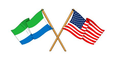 cartoon-like drawings of flags showing friendship between Sierra Leone and USA Stock Photo
