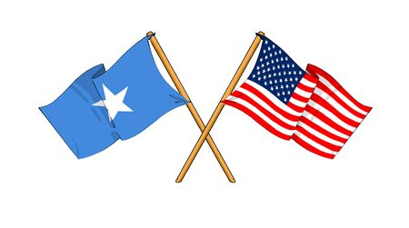 somalian: cartoon-like drawings of flags showing friendship between Somalia and USA