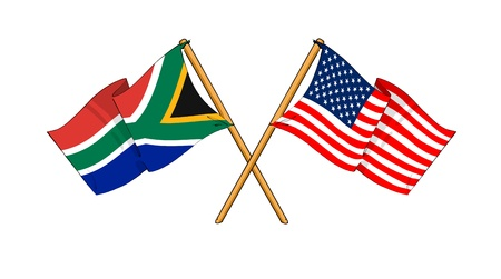 cartoon-like drawings of flags showing friendship between South Africa and USA