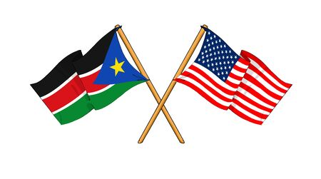 cartoon-like drawings of flags showing friendship between South Sudan and USA