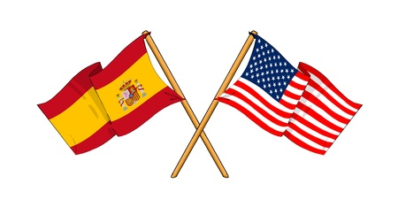 cartoon-like drawings of flags showing friendship between Spain and USA