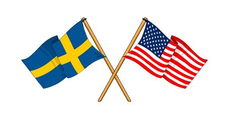 cartoon-like drawings of flags showing friendship between Sweden and USA photo