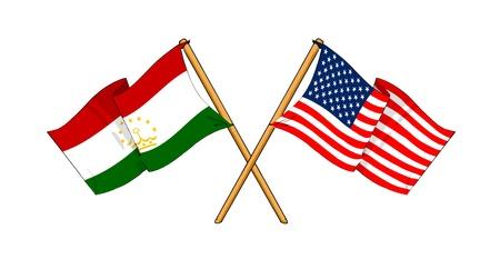 economy of tajikistan: cartoon-like drawings of flags showing friendship between Tajikistan and USA