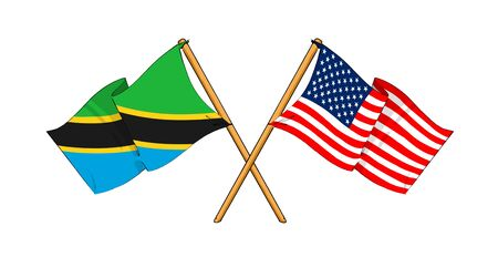 cartoon-like drawings of flags showing friendship between Tanzania and USA
