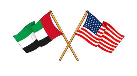 cartoon-like drawings of flags showing friendship between United Arab Emirates and USA photo
