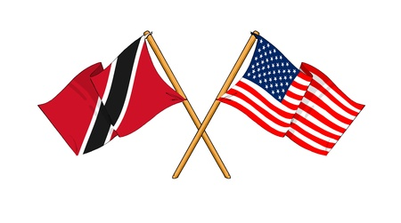 cartoon-like drawings of flags showing friendship between Trinidad and Tobago and USA