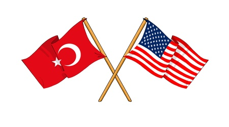 cartoon-like drawings of flags showing friendship between Turkey and USA Stock Photo