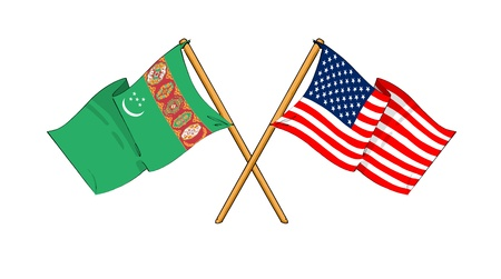 cartoon-like drawings of flags showing friendship between Turkmenistan and USA Stock Photo