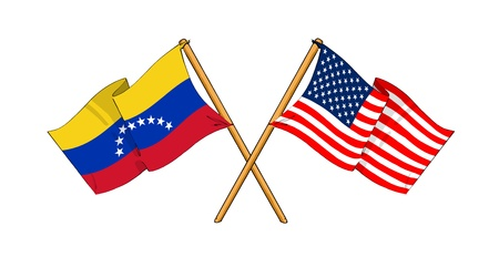 cartoon-like drawings of flags showing friendship between Venezuela and USA photo