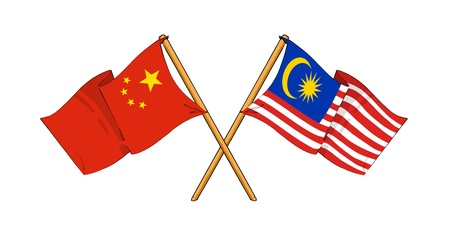 cartoon-like drawings of flags showing friendship between China and Malaysia Stock Photo