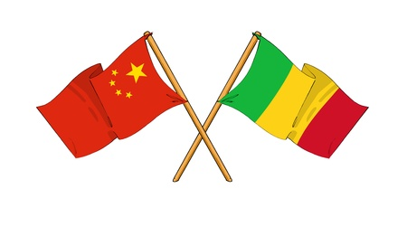 cartoon-like drawings of flags showing friendship between China and Mali photo