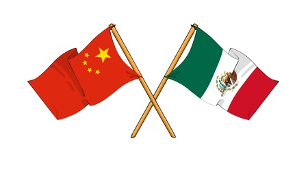 cartoon-like drawings of flags showing friendship between China and Mexico