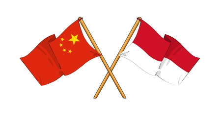 truce: cartoon-like drawings of flags showing friendship between China and Monaco