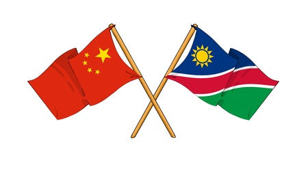 truce: cartoon-like drawings of flags showing friendship between China and Namibia Stock Photo