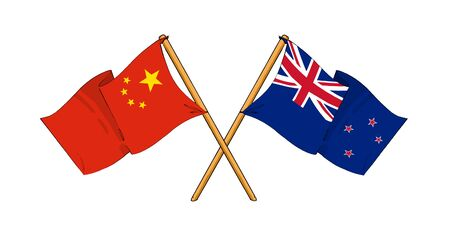 cartoon-like drawings of flags showing friendship between China and New Zealand Stock Photo - 15009736