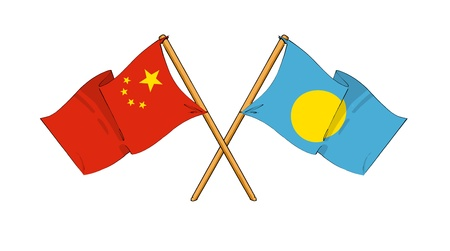 palau: cartoon-like drawings of flags showing friendship between China and Palau