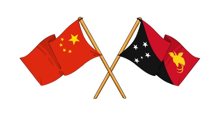 cartoon-like drawings of flags showing friendship between China and Papua New Guinea Stock Photo - 15009691