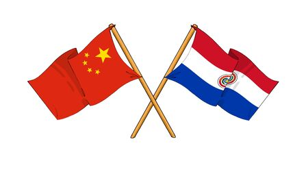 cartoon-like drawings of flags showing friendship between China and Paraguay photo