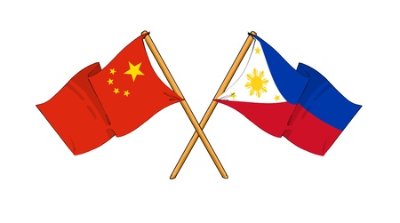 truce: cartoon-like drawings of flags showing friendship between China and Philippines Stock Photo