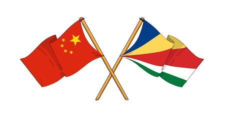 seychelles: cartoon-like drawings of flags showing friendship between China and Seychelles