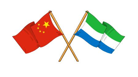 truce: cartoon-like drawings of flags showing friendship between China and Sierra Leone Stock Photo