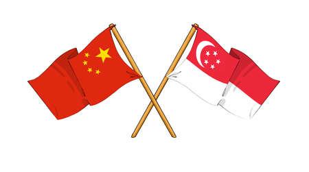 singaporean flag: cartoon-like drawings of flags showing friendship between China and Singapore Editorial