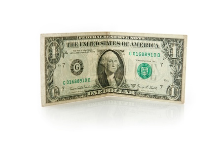 one dollar bill on white background Stock Photo - 15163455