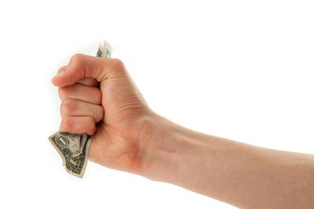 young man s hand holding one dollar bill isolated on white Stock Photo - 15163385