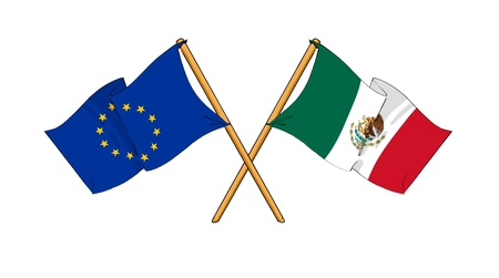 cartoon-like drawings of flags showing friendship between EU and Mexico