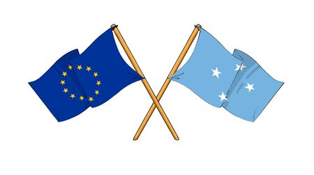 cartoon-like drawings of flags showing friendship between EU and Federated States of Micronesia photo