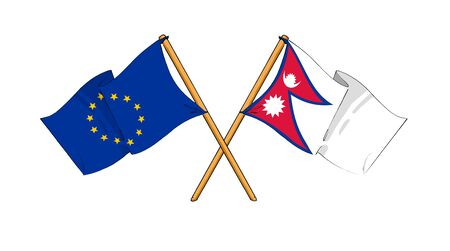 cartoon-like drawings of flags showing friendship between EU and Nepal