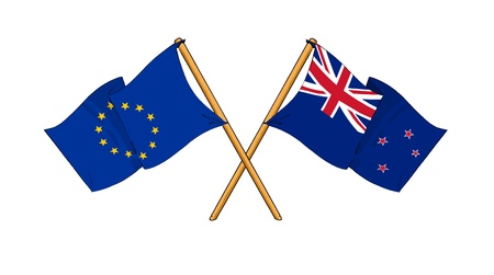 truce: cartoon-like drawings of flags showing friendship between EU and New Zealand