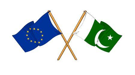 truce: cartoon-like drawings of flags showing friendship between EU and Pakistan Stock Photo