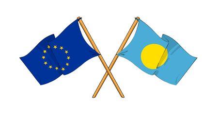truce: cartoon-like drawings of flags showing friendship between EU and Palau