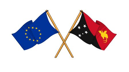 truce: cartoon-like drawings of flags showing friendship between EU and Papua New Guinea Stock Photo